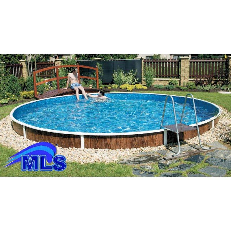 Schwimmbecken rundpool rundbecken azur m x m in for Stahlwandbecken holzoptik