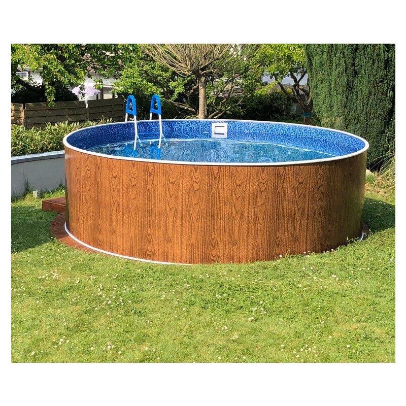 Schwimmbecken rundpool rundbecken azur m x m in for Garten pool holzoptik