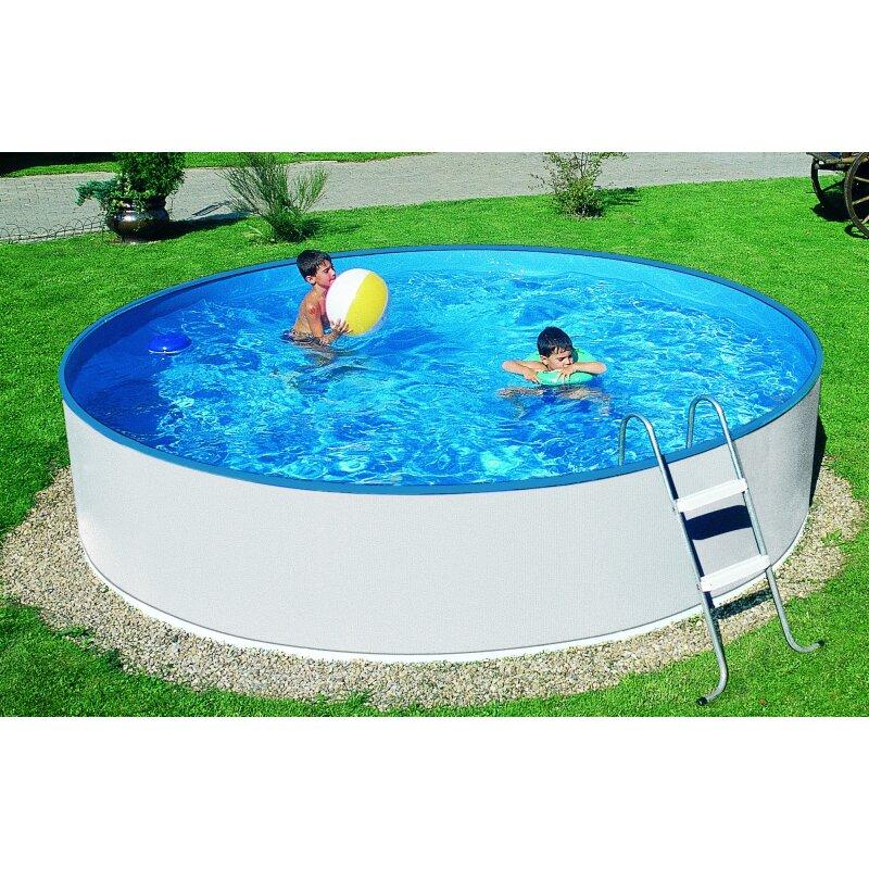 schwimmbecken wei set 3 60 m x 0 90 m rund inkl leiter
