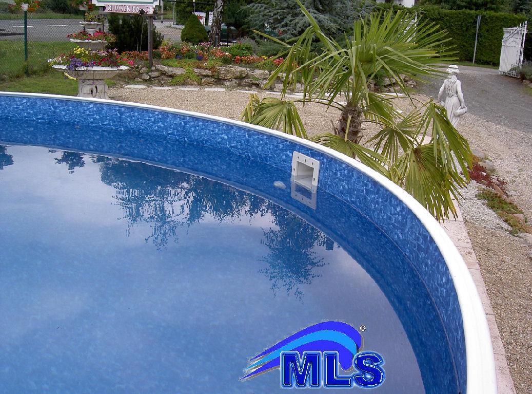 Rundbecken pool komplettset x m leiter skimmer for Folienverlegung schwimmbad